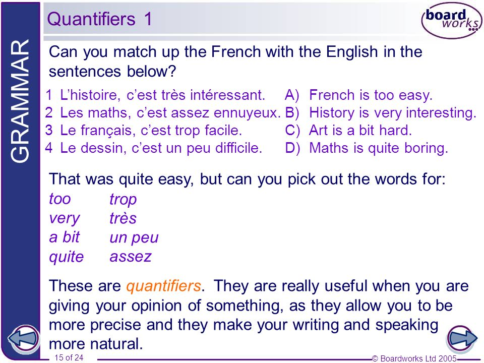 Quantifiers 1 Can you match up the French with the English in the sentences below L'histoire, c'est très intéressant.