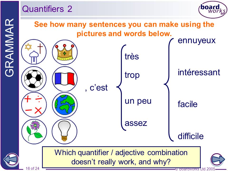 Which quantifier / adjective combination doesn't really work, and why