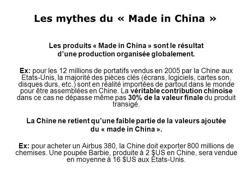 Les mythes du « Made in China »