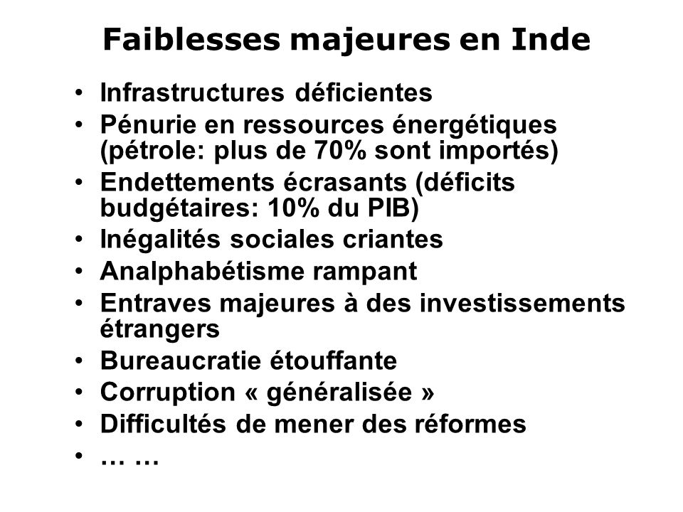 Faiblesses majeures en Inde