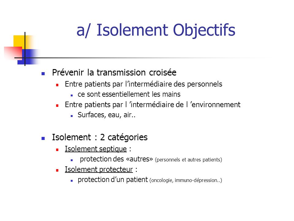 a/ Isolement Objectifs