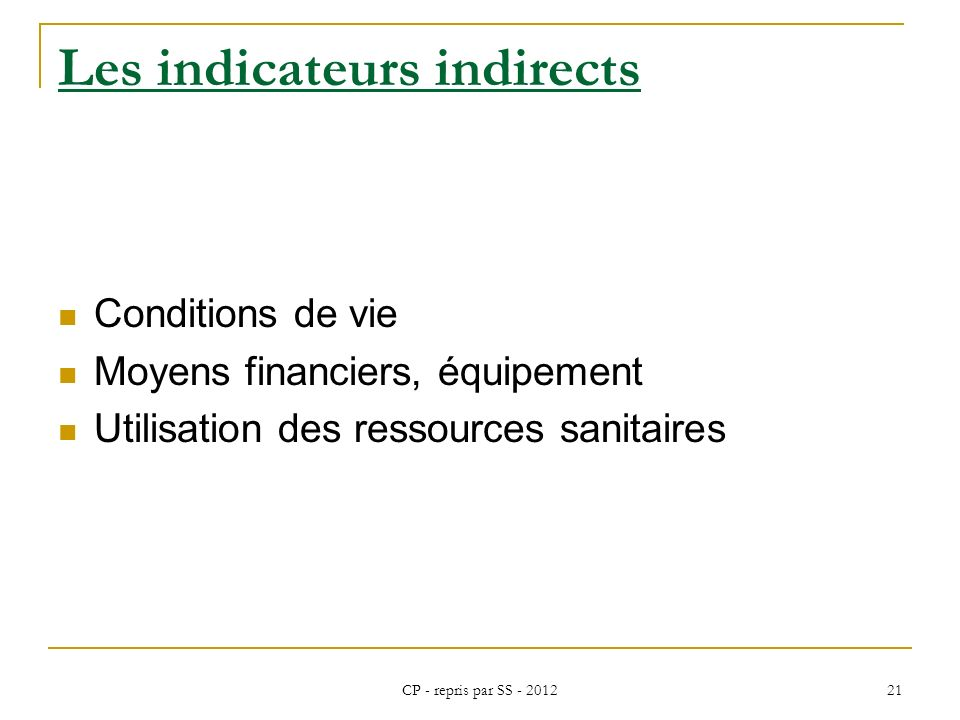 Les indicateurs indirects