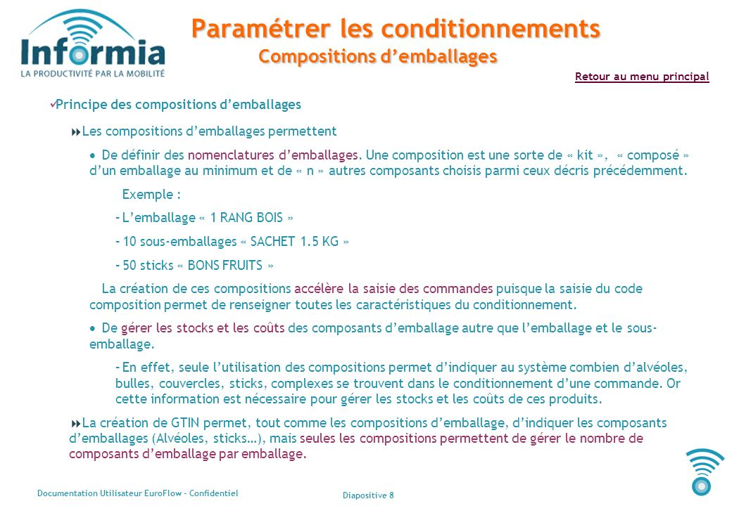 Paramétrer les conditionnements Compositions d'emballages