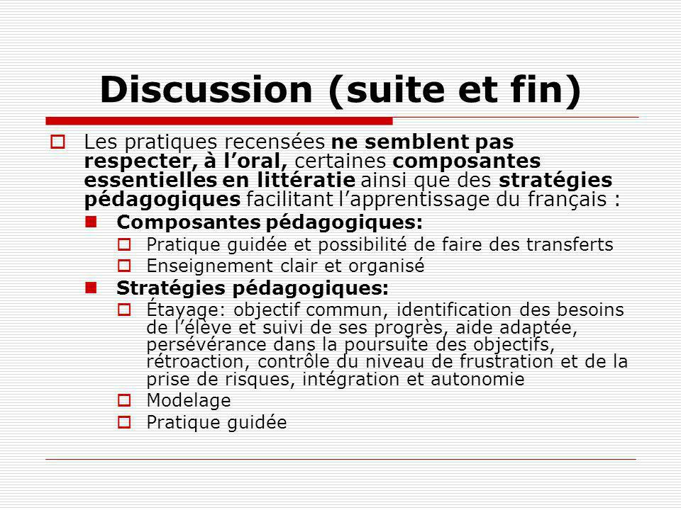 Discussion (suite et fin)
