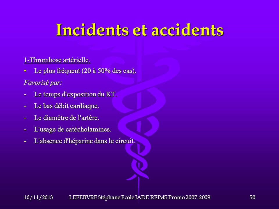 Incidents et accidents