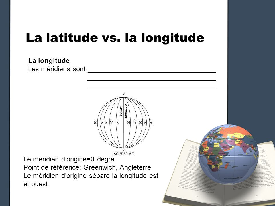 La latitude vs. la longitude