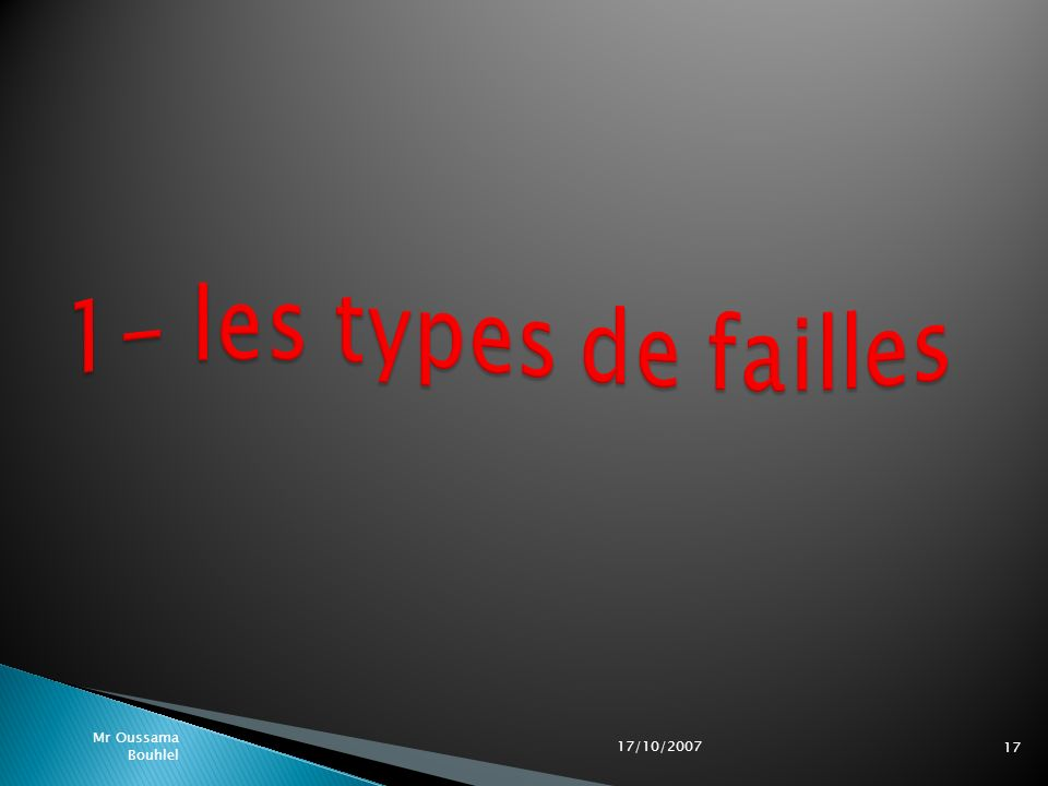 1- les types de failles 17/10/2007 Mr Oussama Bouhlel