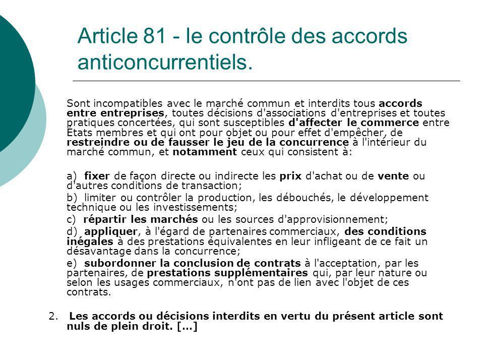 Article 81 - le contrôle des accords anticoncurrentiels.