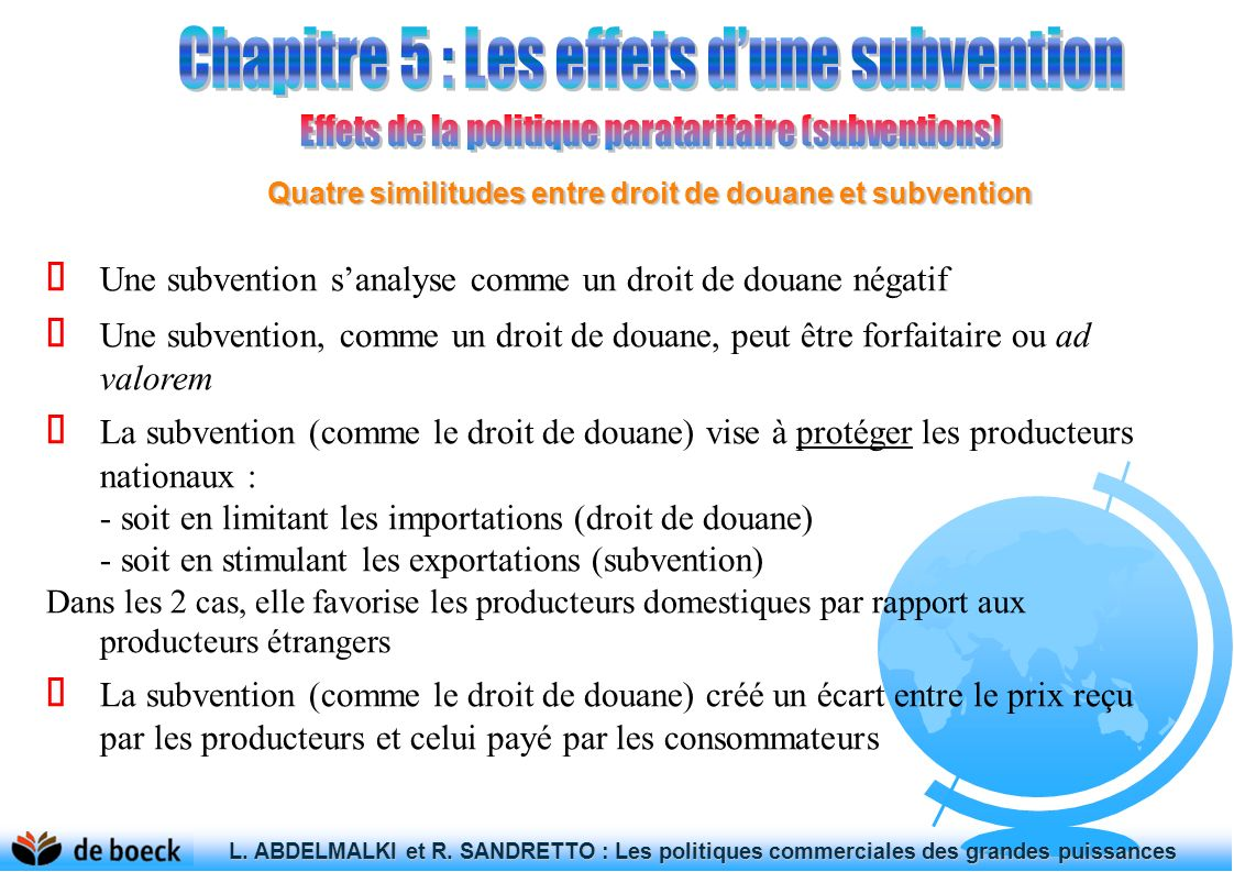 Quatre similitudes entre droit de douane et subvention