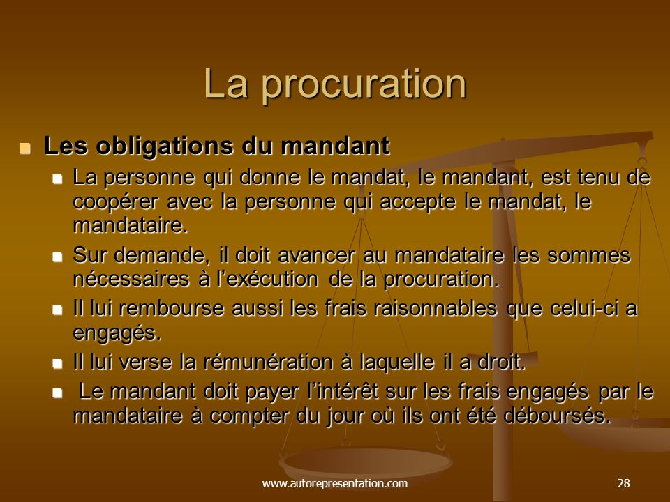 La procuration Les obligations du mandant