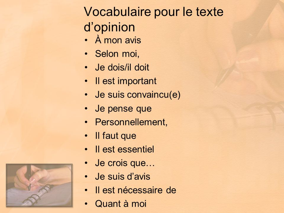 Vocabulaire pour le texte d'opinion