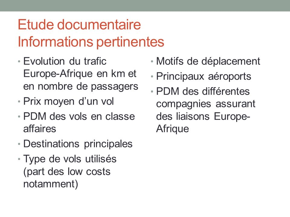 Etude documentaire Informations pertinentes