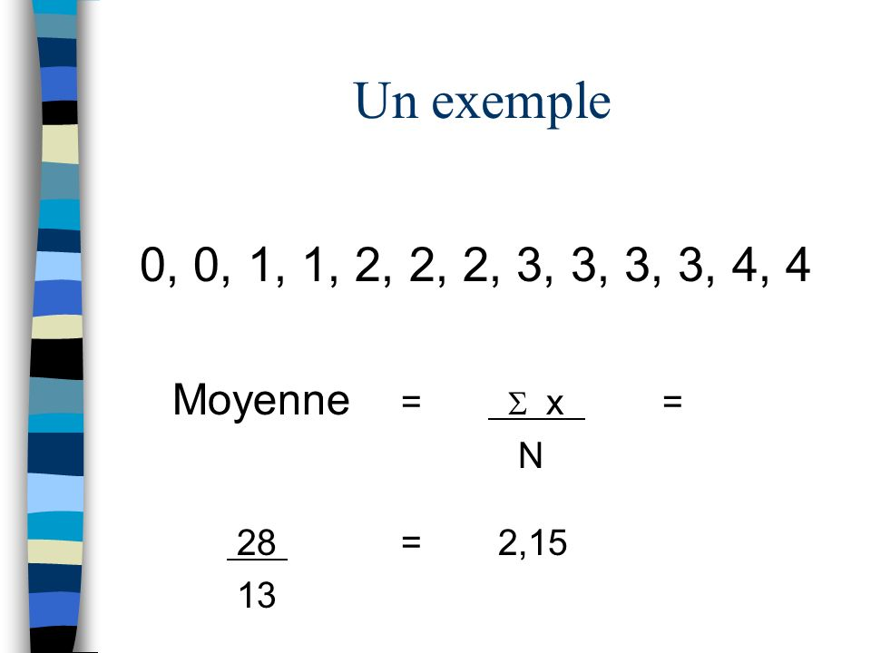 Un exemple 0, 0, 1, 1, 2, 2, 2, 3, 3, 3, 3, 4, 4 Moyenne =  x = N