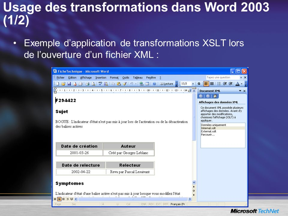 Usage des transformations dans Word 2003 (1/2)
