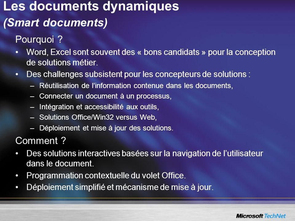 Les documents dynamiques (Smart documents)