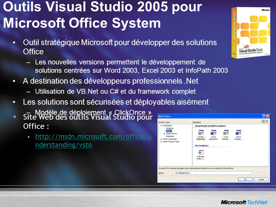 Outils Visual Studio 2005 pour Microsoft Office System