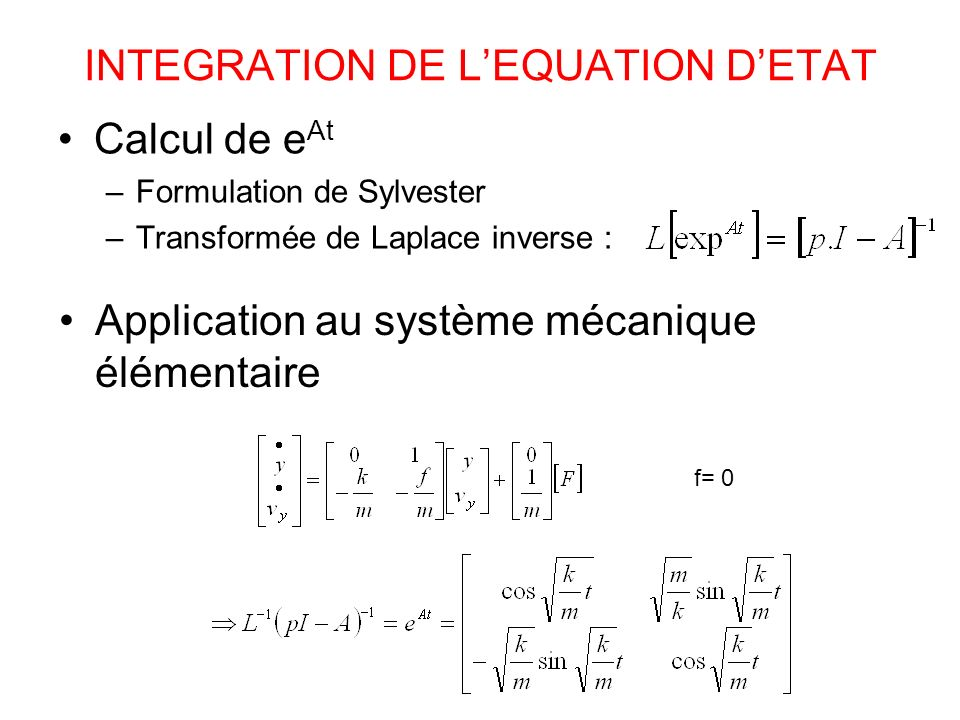 INTEGRATION DE L'EQUATION D'ETAT