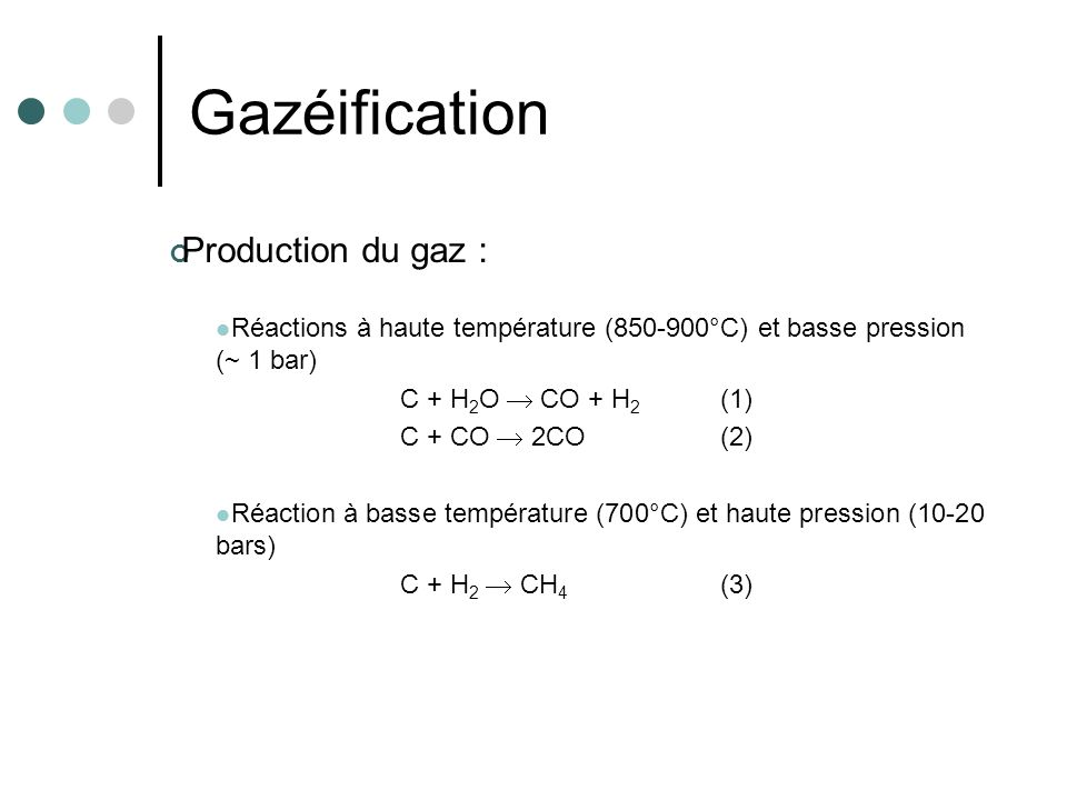 Gazéification Production du gaz :