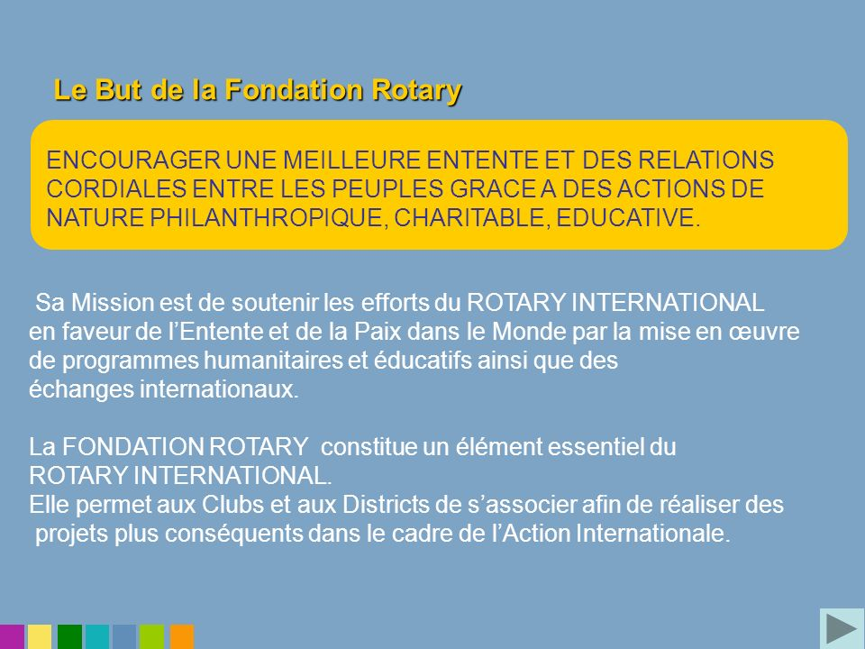 Le But de la Fondation Rotary