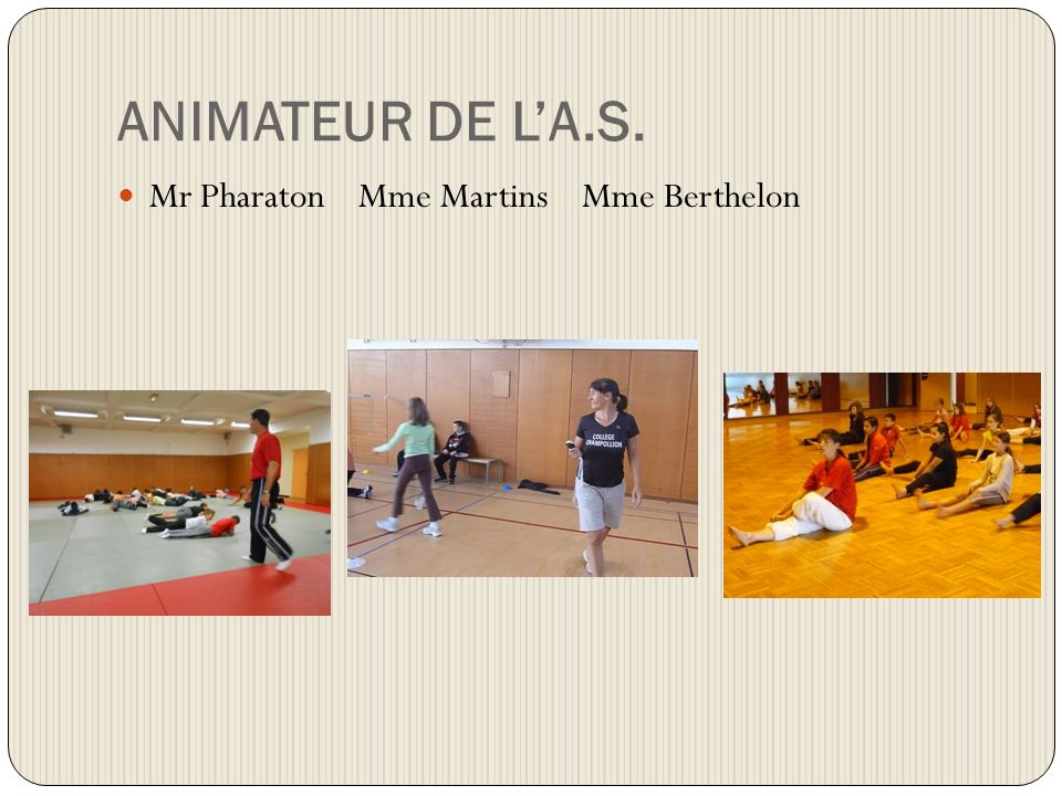 ANIMATEUR DE L'A.S. Mr Pharaton Mme Martins Mme Berthelon