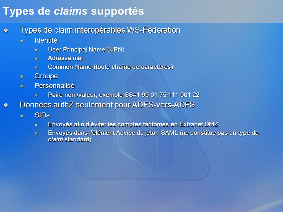Types de claims supportés