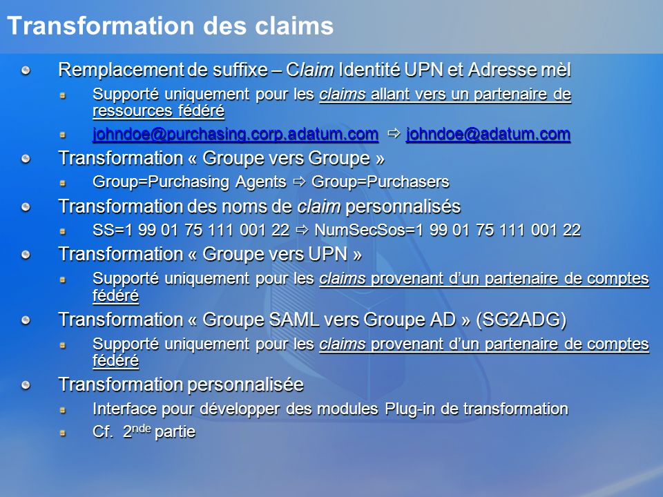 Transformation des claims