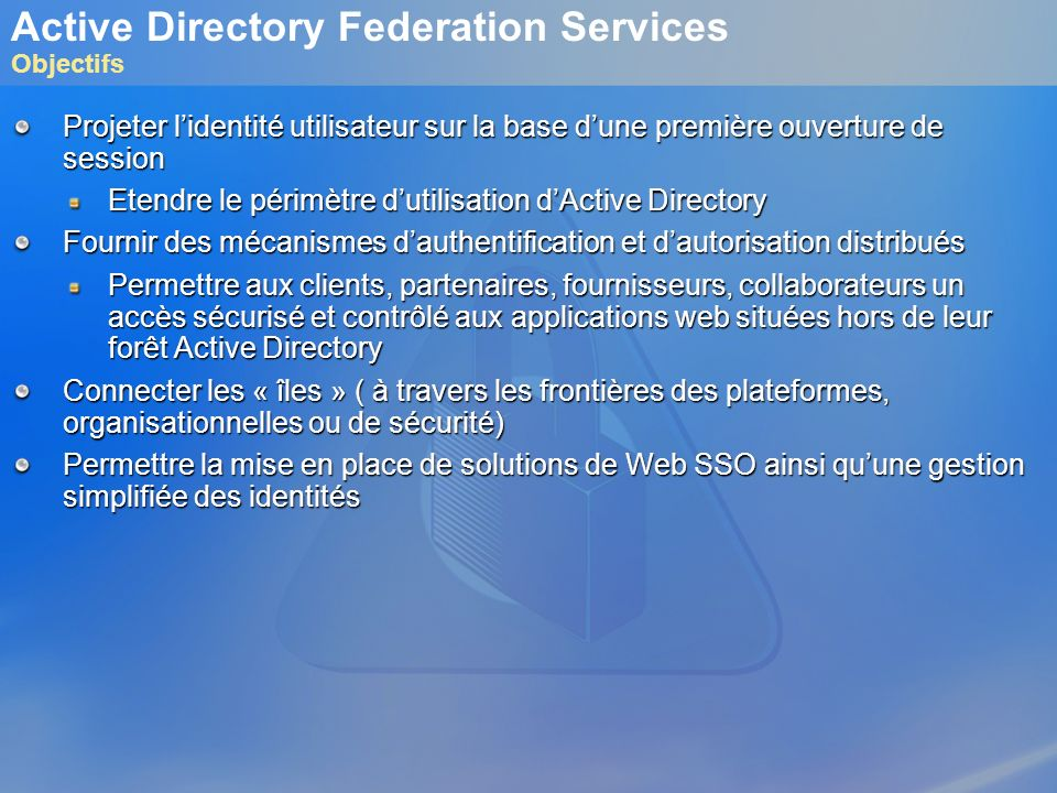 Active Directory Federation Services Objectifs