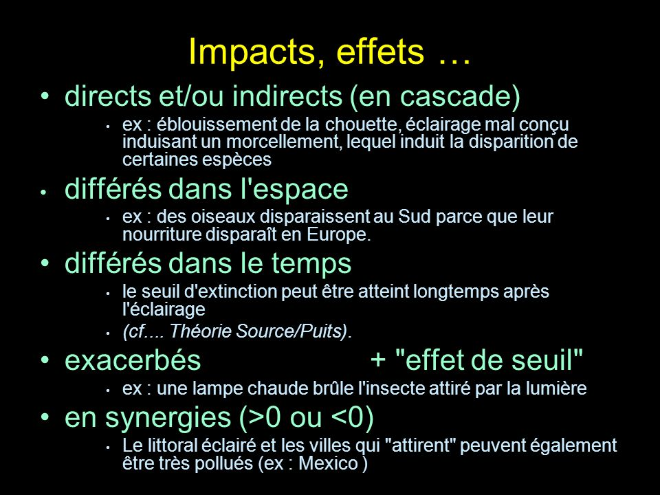 Impacts, effets … directs et/ou indirects (en cascade)