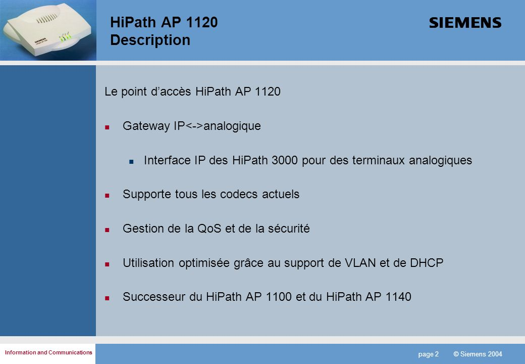 HiPath AP 1120 Description Le point d'accès HiPath AP 1120