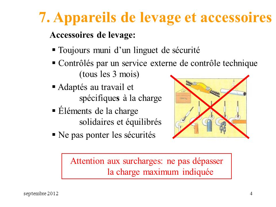 Attention aux surcharges: ne pas dépasser la charge maximum indiquée