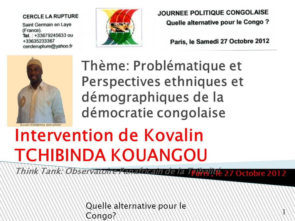 Intervention de Kovalin TCHIBINDA KOUANGOU