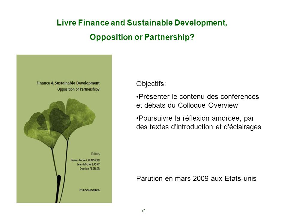 Livre Finance and Sustainable Development, Opposition or Partnership