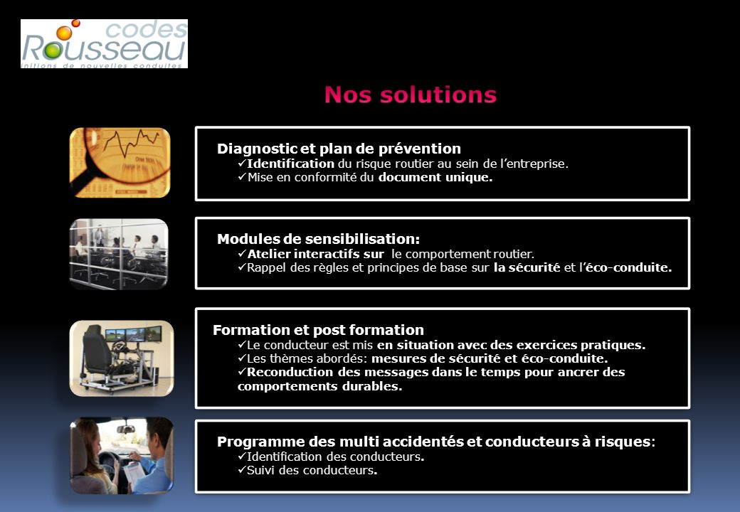 Nos solutions Diagnostic et plan de prévention