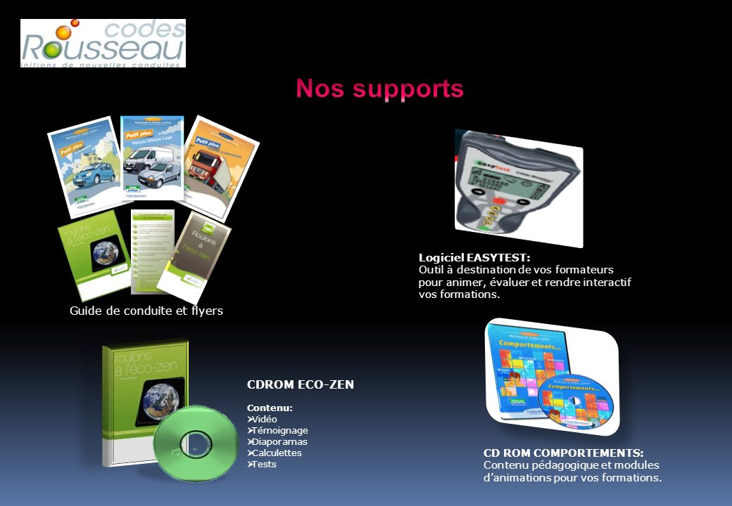 Nos supports Guide de conduite et flyers CDROM ECO-ZEN
