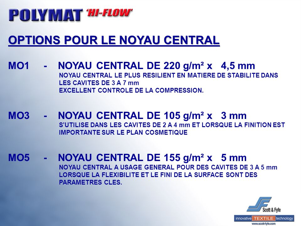 OPTIONS POUR LE NOYAU CENTRAL