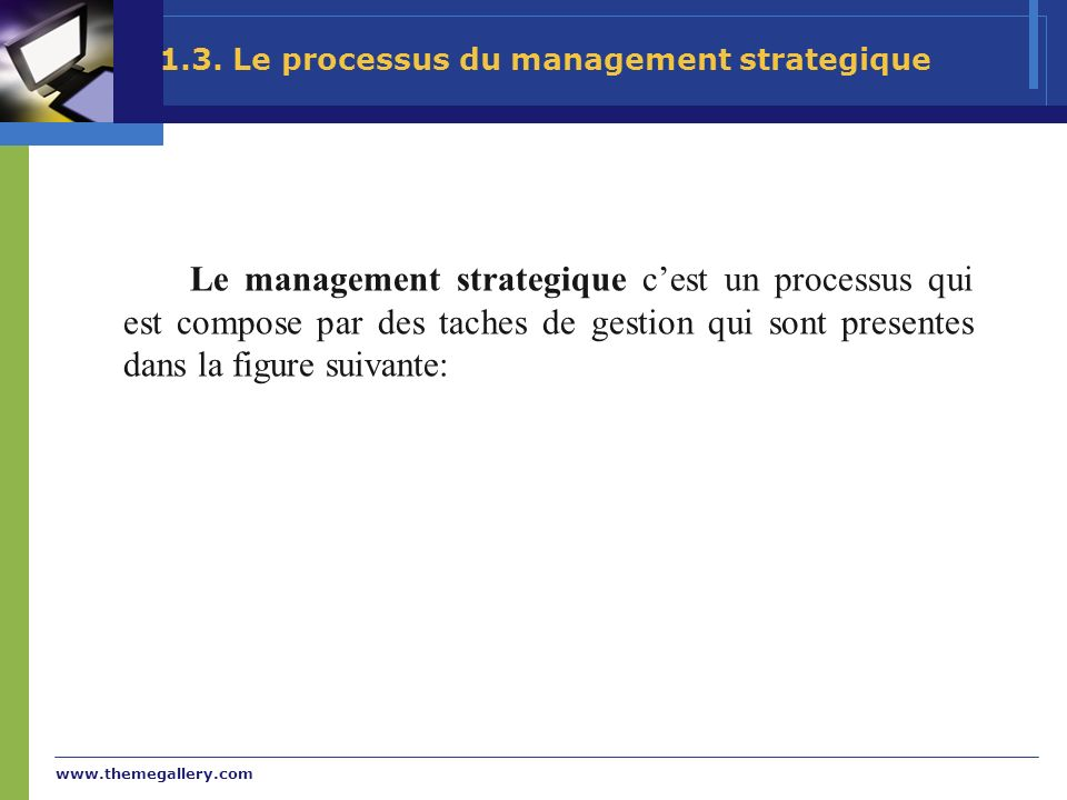 1.3. Le processus du management strategique