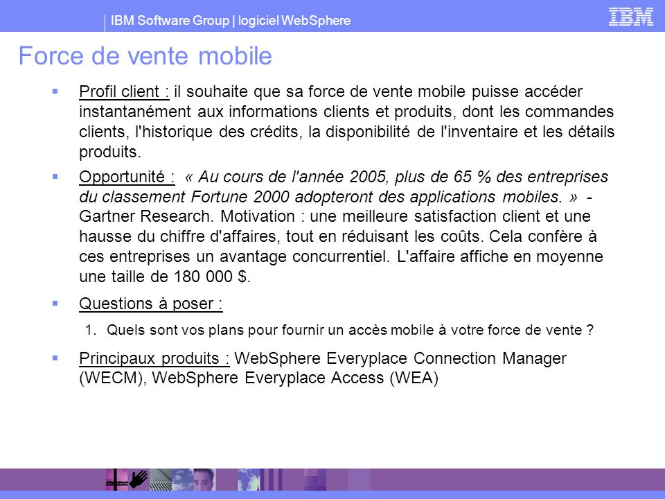 Force de vente mobile