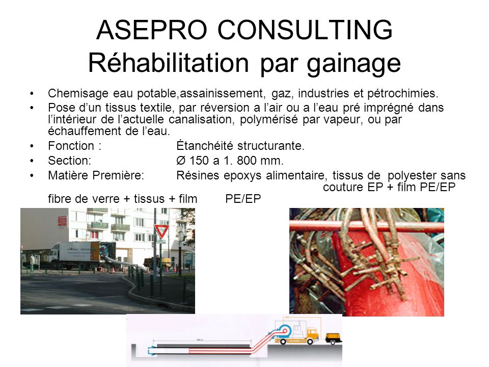 ASEPRO CONSULTING Réhabilitation par gainage