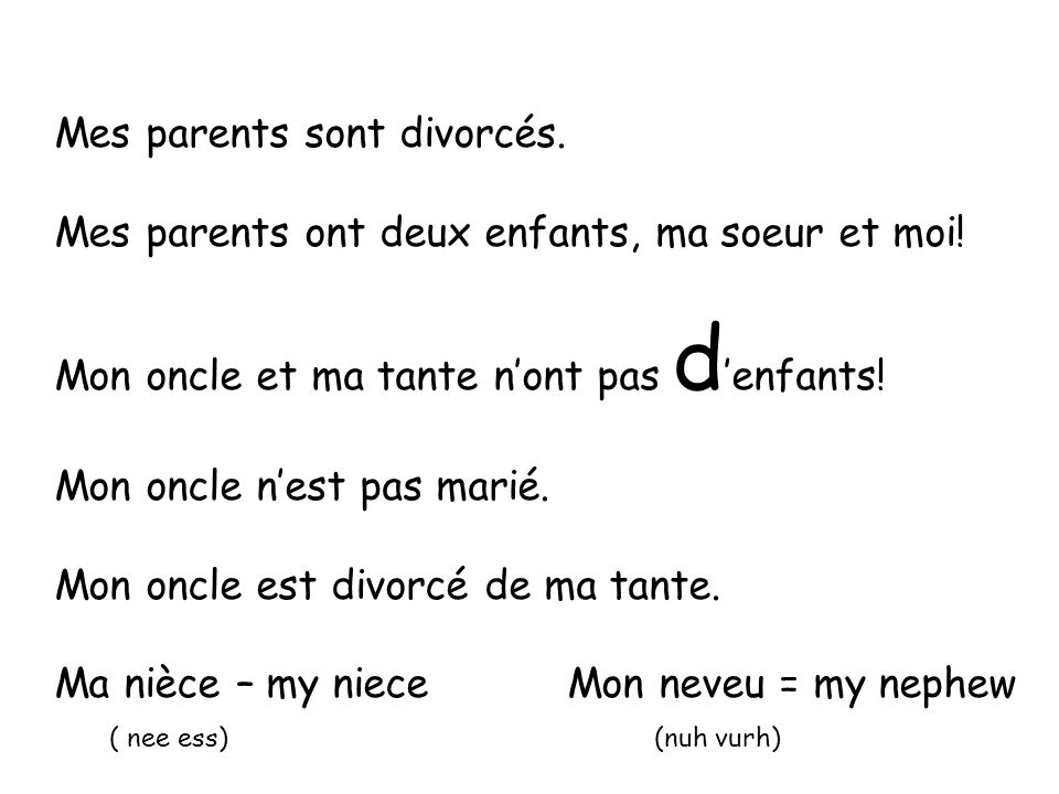 Mes parents sont divorcés.