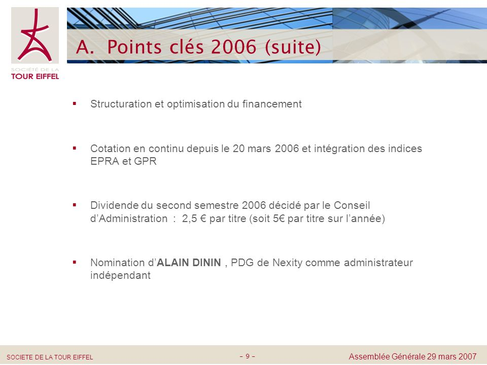 A. Points clés 2006 (suite) Structuration et optimisation du financement.