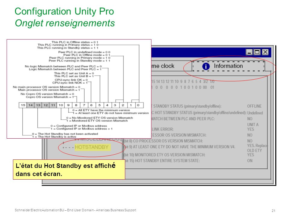 Configuration Unity Pro Onglet renseignements
