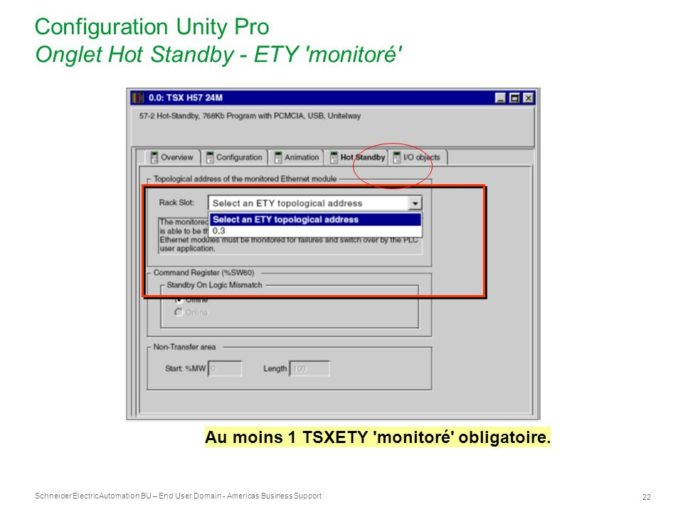 Configuration Unity Pro Onglet Hot Standby - ETY monitoré