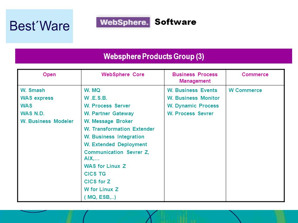 Websphere Products Group (3) Business Process Management