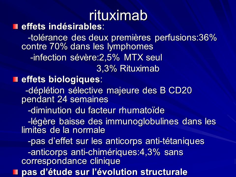 rituximab effets indésirables: