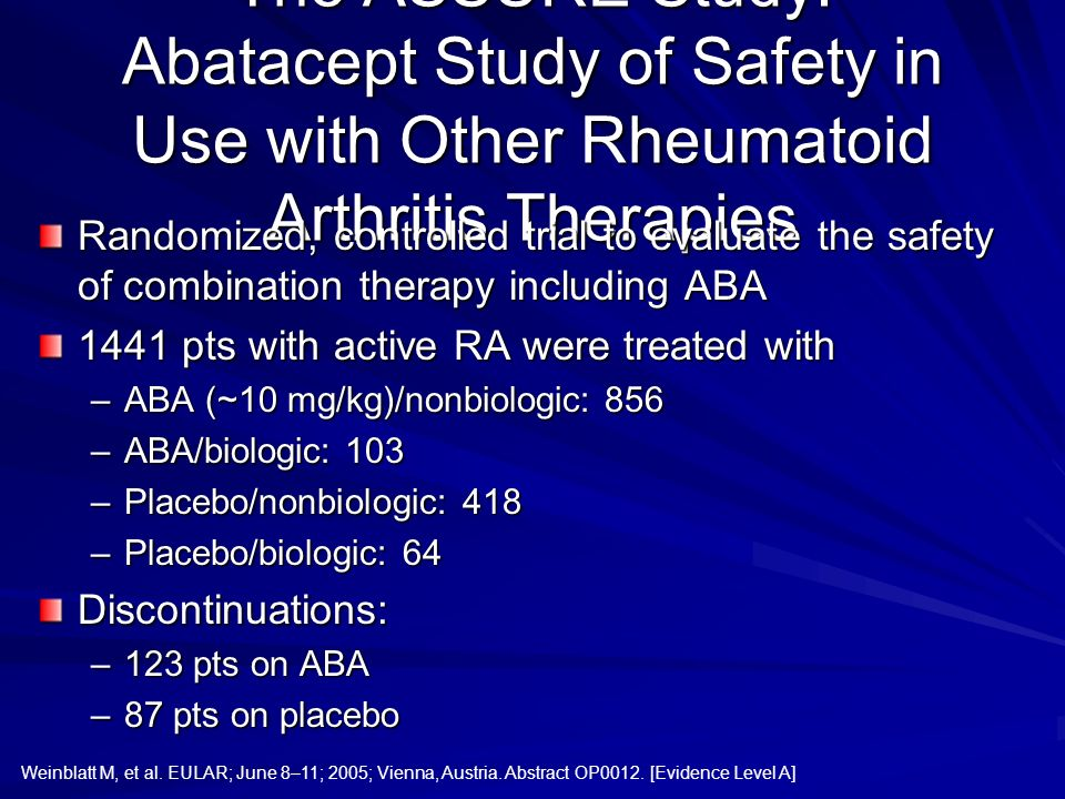 The ASSURE Study: Abatacept Study of Safety in Use with Other Rheumatoid Arthritis Therapies
