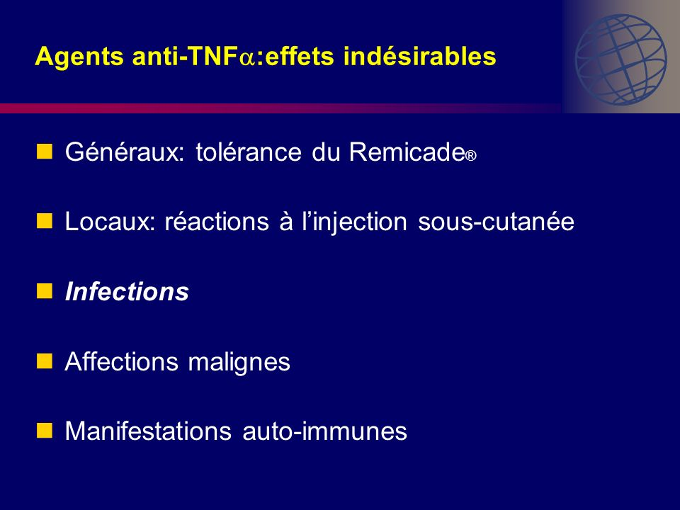 Agents anti-TNF:effets indésirables