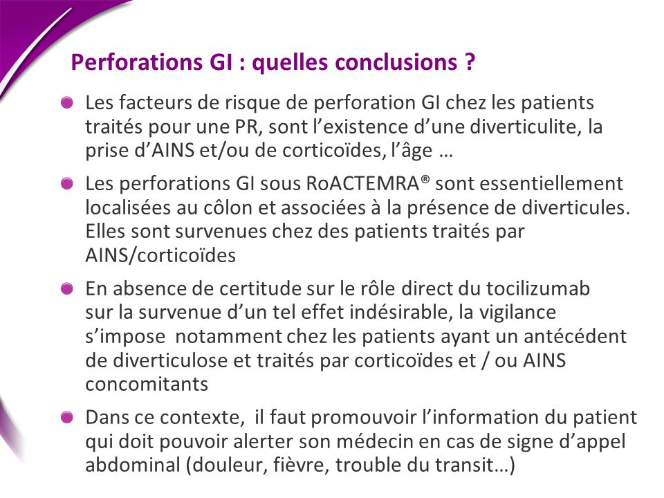 Perforations GI : quelles conclusions