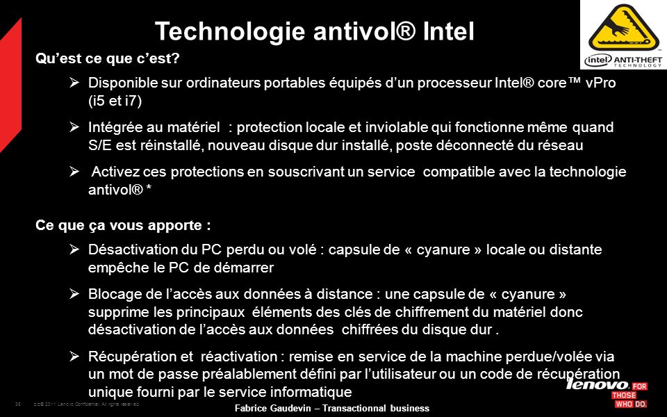 Technologie antivol® Intel