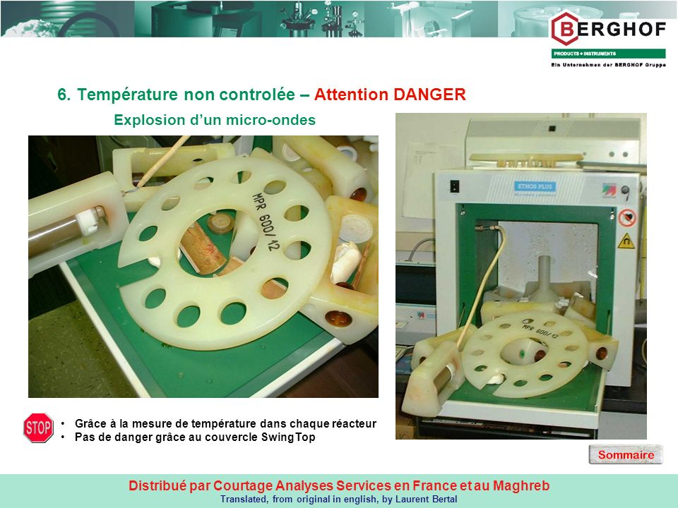 6. Température non controlée – Attention DANGER