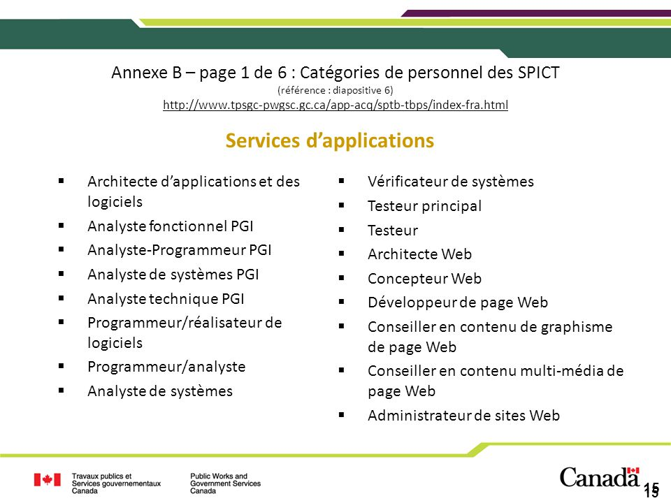 Services d'applications